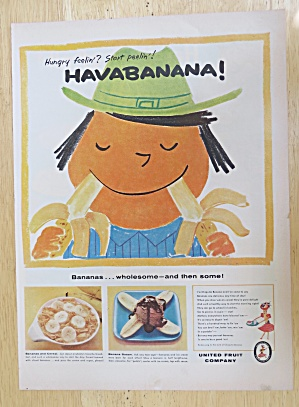 1956 United Fruit Company With Man Eating Two Bananas