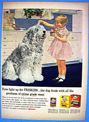 1958 Friskies Dog Food With Girl Feeding Dog (Image1)