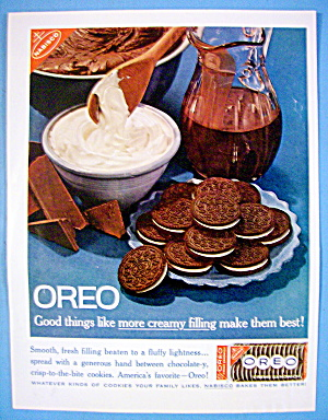1961 Nabisco Oreo With Oreo Creme Sandwiches On Plate