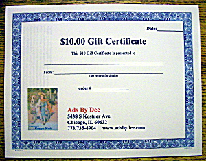 Ads By Dee $10 Gift Certificate (Image1)