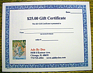 Ads By Dee $25 Gift Certificate (Image1)