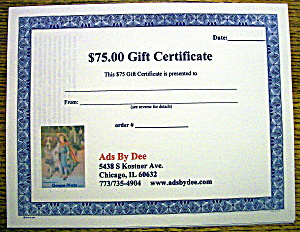 Ads By Dee $75 Gift Certificate