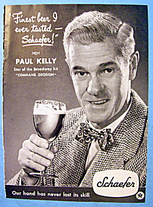1948 Schaefer Beer with Broadway Star Paul Kelly (Image1)