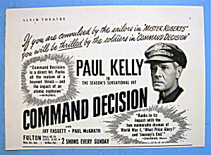 1948 Command Decision With Paul Kelly