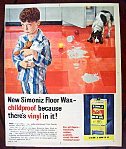 1958 Simoniz Vinyl Floor Wax w/Boy Holding a Pitcher (Image1)
