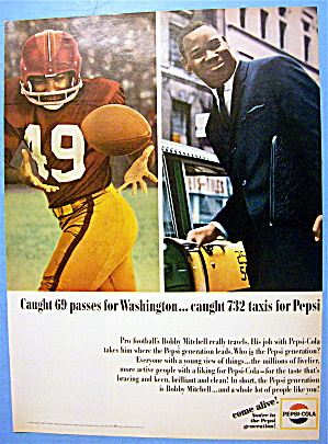 1965 Pepsi-cola (Pepsi) With Football's Bobby Mitchell