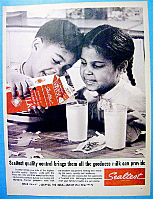 1965 Sealtest Milk With 2 Children Enjoying Milk