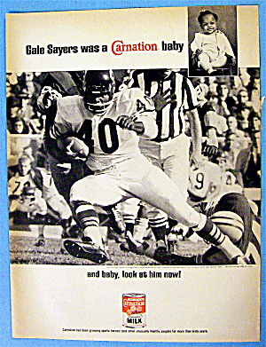 1967 Carnation Milk With Football's Gale Sayers