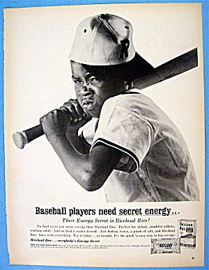 1968 Riceland Rice With Boy With Mad Face Holding Bat