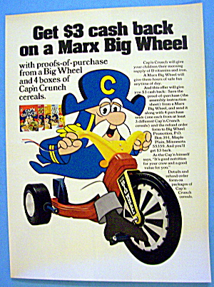 1974 Captain Crunch Cereal W/captain Crunch & Big Wheel