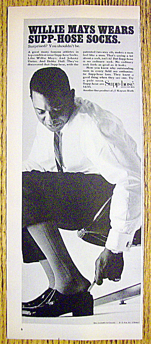 1965 Supp-Hose Socks with Baseball's Willie Mays (Image1)
