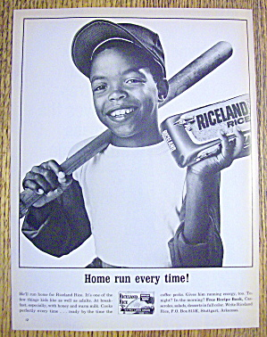 1965 Riceland Rice With Boy Holding Bat & Bag Of Rice