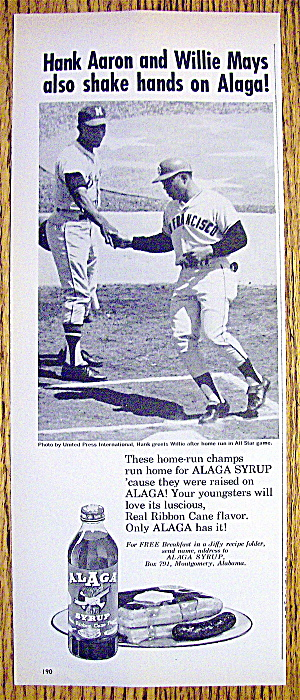 1965 Alaga Syrup w/Baseball's Hank Aaron & Willie Mays (Image1)