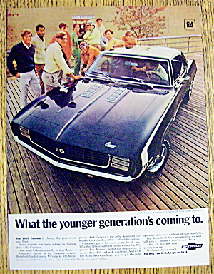 1969 Camaro Ss Coupe With Group Of People By Car