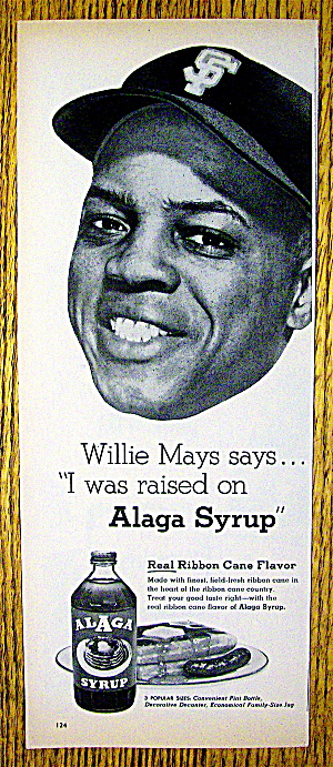 1960 Alaga Syrup With Baseball's Willie Mays