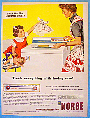 1957 Norge Washing Machine With Mom & Little Girl