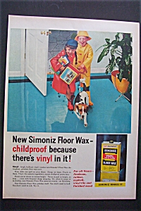 1958 Simoniz Vinyl Floor Wax with Kids & Raincoats (Image1)
