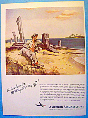 1946 American Airlines With A Beachcomber On Beach