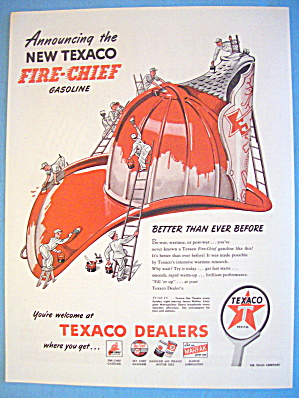 1946 Texaco Gas With Men Painting Fireman's Hat