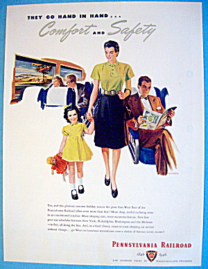 1946 Pennsylvania Railroad With Woman And Girl Walking