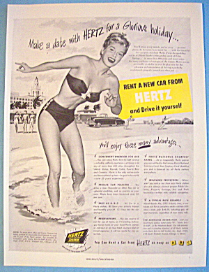 1949 Hertz With Woman On Beach