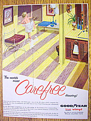 1957 Goodyear Vinyl Flooring with Girl Climbing In Tub (Image1)
