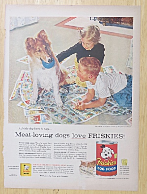 1956 Friskies Dog Food With Children & Their Dog