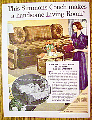 1937 Simmons Couch With Woman Looking At Couch