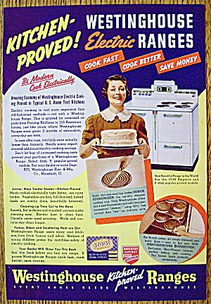1938 Westinghouse Electric Range w/Woman Holding A Cake (Image1)