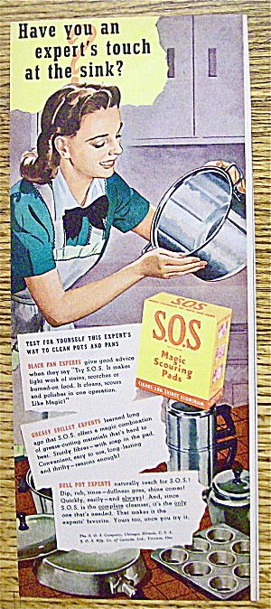 1946 S. O .S. Scouring Pads with Woman Cleaning Pot (Image1)