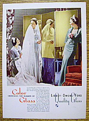 1936 Libbey Glass with Bride & Bridesmaid (Image1)