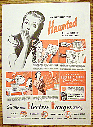 1938 National Electric Range With Woman Scared By Ghost