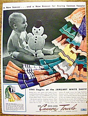 1941 Cannon Towels with Baby Holding Snowman Doll (Image1)