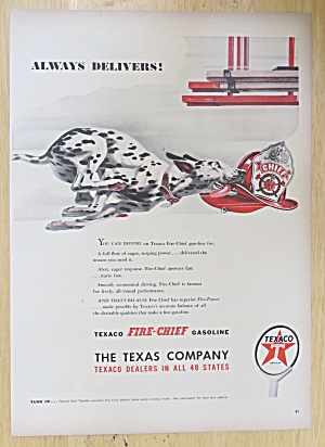 1947 Texaco Fire Chief Gasoline With Dalmatian Running