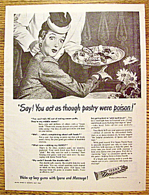 1946 Ipana Toothpaste with Woman Looking At Desserts (Image1)