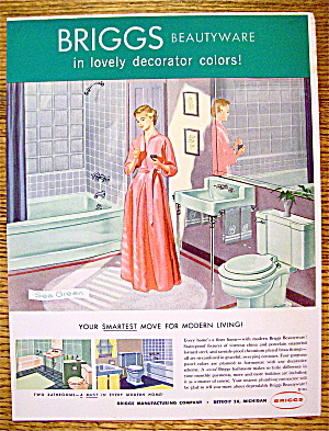 1954 Briggs Beautyware with Woman in Bathroom (Image1)
