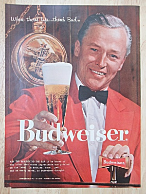 1958 Budweiser Beer With Man Holding A Glass Of Beer