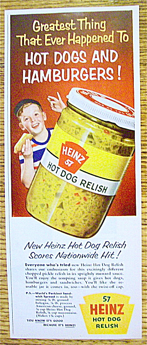 1954 Heinz Hot Dog Relish With Boy Eating Hot Dog