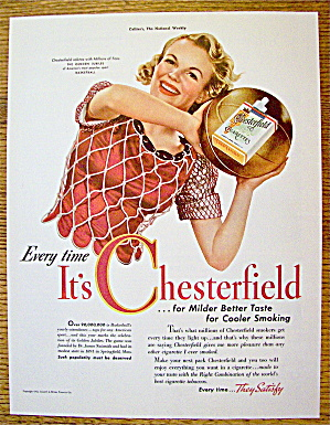 1942 Chesterfield Cigarettes With Woman & Basketball