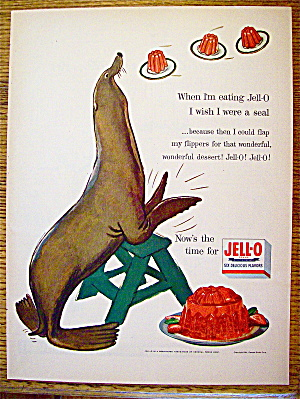 1954 Jell-o With A Seal On A Stepladder