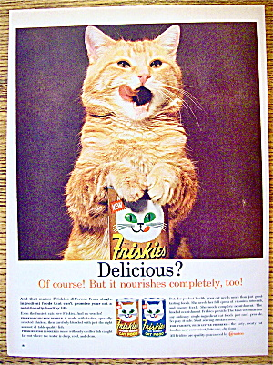 1961 Friskies Cat Food With Cat Licking His Lips