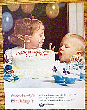 1965 Bell Telephone w/Girl Giving Boy Lick Of Frosting (Image1)