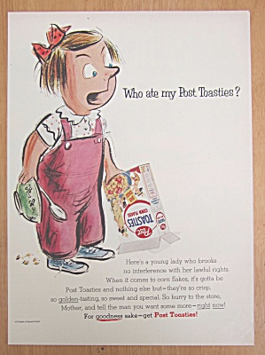 1955 Post Toasties Cereal With Little Girl Holding Box