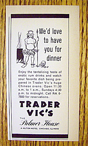 1966 Trader Vic's With Native And Spear