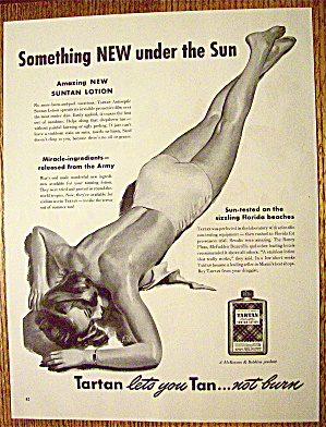 1946 Tartan Lotion with Woman In Bathing Suit Sunning (Image1)