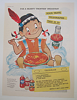 1955 Karo Syrup with Little Indian Girl Eating Waffles (Image1)