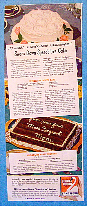 1944 Swans Down Cake Flour With Speedeluxe Cake