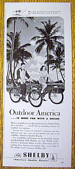 1946 Shelby Bicycles With Boy & Girl Riding On Bicycles