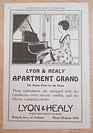 1919 Lyon & Healy Apartment Grand Piano W/woman Playing