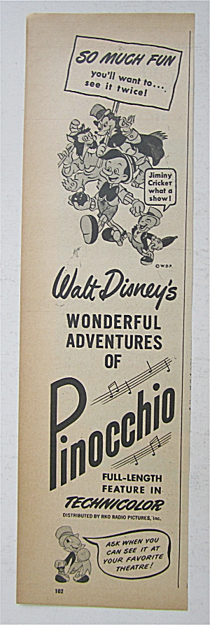 1945 Walt Disney Pinocchio With Pinocchio & The Gang